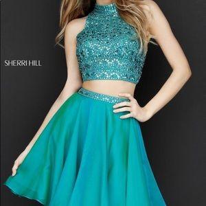 Jade Green Two Piece Sherri Hill Homecoming Dress